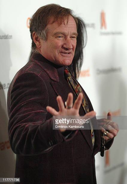 """Robin Williams during The Christopher Reeve Foundation's """"A Magical Evening"""" - Red Carpet at Marriott Marquis in New York, New York, United States."""