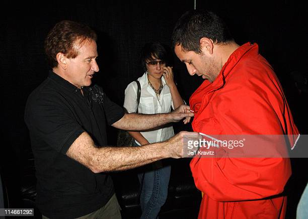 Robin Williams, guest and Adam Sandler during Nickelodeon's 19th Annual Kids' Choice Awards - Backstage and Audience at Pauley Pavillion in Westwood,...