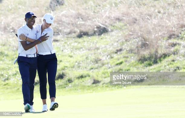 Robin Williams of Team Europe and Emma Spitz of Team Europe during the Junior Ryder Cup GolfSixes ahead of the 2018 Ryder Cup at Le Golf National on...