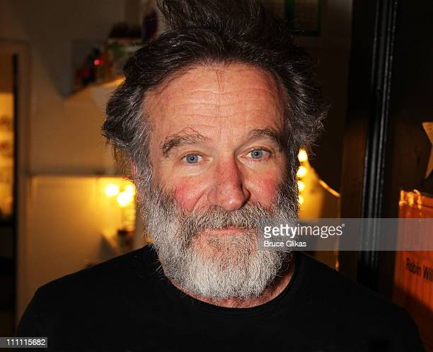 Robin Williams poses backstage at the new play Bengal Tiger at the Baghdad Zoo at The Richard Rogers Theater on March 29 2011 in New York City