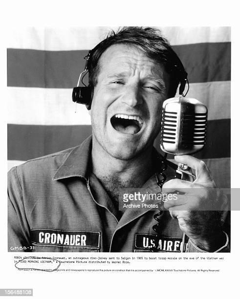 Robin Williams publicity portrait for the film 'Good Morning, Vietnam', 1987.