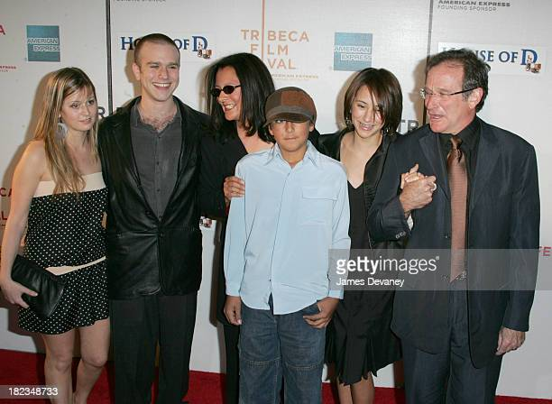 Robin Williams with family during 3rd Annual Tribeca Film Festival House of D Premiere at Tribeca Performing Arts Center in New York City New York...