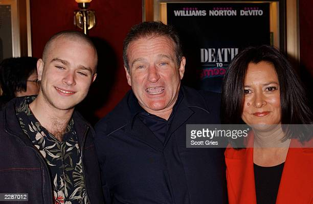 Robin Williams with his son Zack and wife Marsha arrive at the premiere of Death To Smoochy at the Ziegfeld Theater in New York City 3/26/02 Photo by...