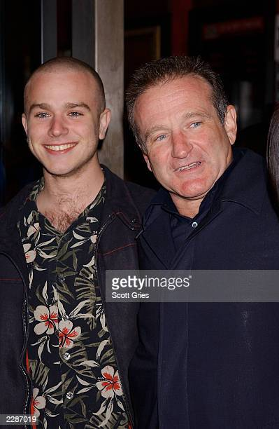 Robin Williams with his son Zack arrive at the premiere of 'Death To Smoochy' at the Ziegfeld Theater in New York City 3/26/02 Photo by Scott...
