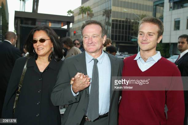 Robin Williams with his wife Marsha and son Zachary at the premiere of 'One Hour Photo' at the Academy of Motion Picture Arts and Sciences in Beverly...