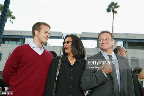 Robin Williams with his wife Marsha and son Zachary at the premiere of One Hour Photo at the Academy of Motion Picture Arts and Sciences in Beverly...
