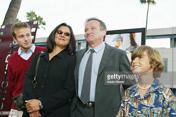 Robin Williams with his wife Marsha son Zachary and Dylan Smith at the premiere of One Hour Photo at the Academy of Motion Picture Arts and Sciences...