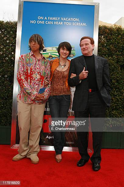 Robin Williams with son Cody and daughter Zelda during Los Angeles Premiere of Columbia Pictures' 'RV' at Mann Village Theatre in Westwood California...