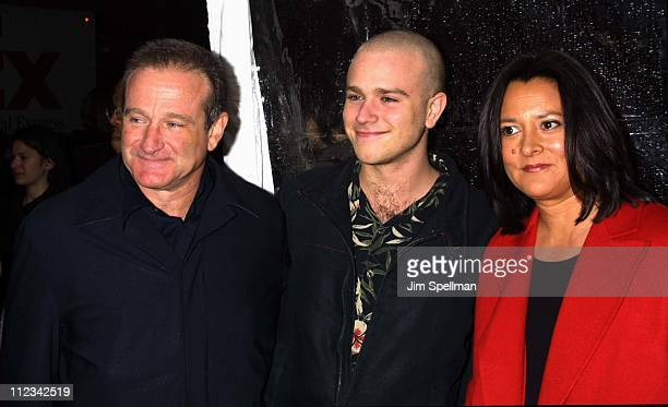 Robin Williams with son Zak wife Marsha during 'Death To Smoochy' Premiere at Ziegfeld Theatre in New York City New York United States
