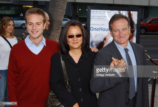 Robin Williams with son Zak wife Marsha during 'One Hour Photo' Premiere at Academy Theatre in Beverly Hills California United States