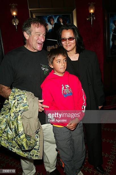 Robin Williams with wife Marsha and son Cody attending the NY Premiere of Warner Bros 'Harry Potter and the Chamber of Secrets' at the Ziegfeld...