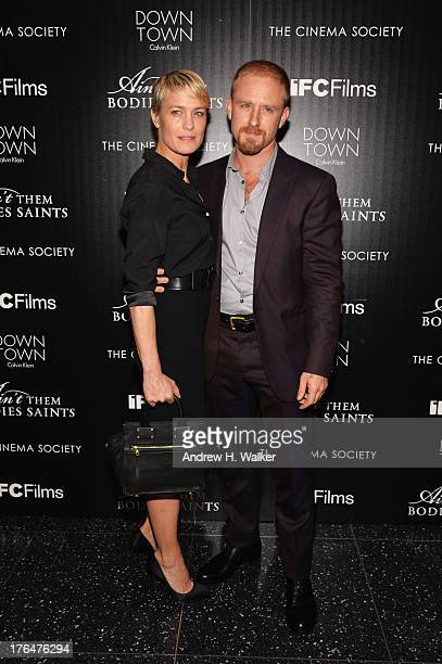 Robin Wright and Ben Foster attend the Downtown Calvin Klein with The Cinema Society screening of IFC Films' Ain't Them Bodies Saints at the Museum...