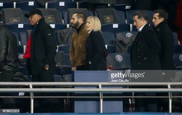 Robin Wright and Clement Giraudet attend the UEFA Champions League Round of 16 Second Leg match between Paris SaintGermain and Real Madrid at Parc...