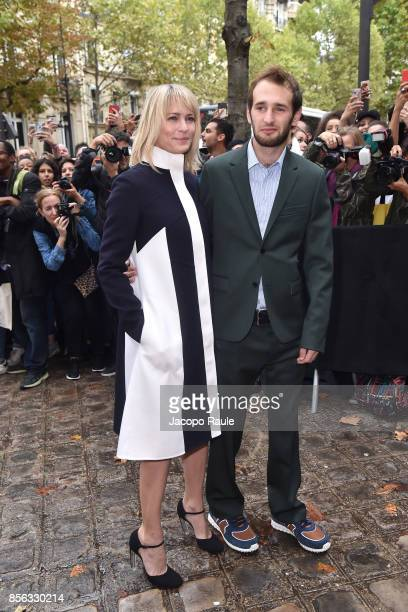 Robin Wright and Hopper Jack Penn are seen arrivinga at Valentino show as part of the Paris Fashion Week Womenswear Spring/Summer 2018 on October 1...