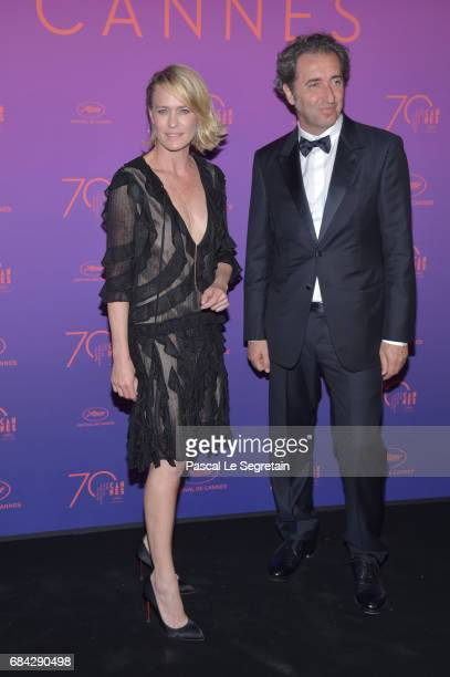 Robin Wright and jury member Paolo Sorrentino attend the Opening Gala Dinner during the 70th annual Cannes Film Festival at Palais des Festivals on...