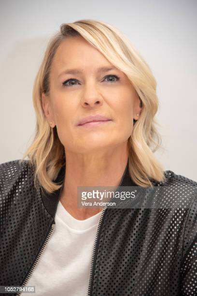 "Robin Wright at the ""House of Cards"" Press Conference at the Four Seasons Hotel on October 22, 2018 in Beverly Hills, California."