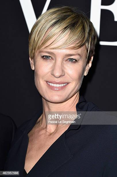 Robin Wright attends the Giorgio Armani Prive show as part of Paris Fashion Week Haute Couture Spring/Summer 2015 on January 27, 2015 in Paris,...