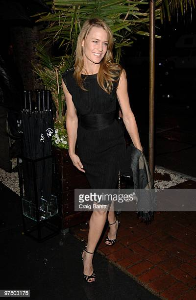 Robin Wright Penn arrives at the Chanel And Charles Finch PreOscar Party Celebrating Fashion And Film at Madeo Restaurant on March 6 2010 in Los...