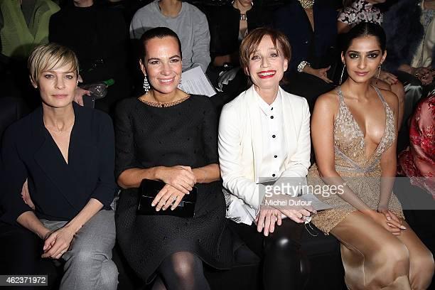 Robin Wright Roberta Armani Kristin Scott Thomas and Sonam Kapoor attend the Giorgio Armani Prive show as part of Paris Fashion Week HauteCouture...