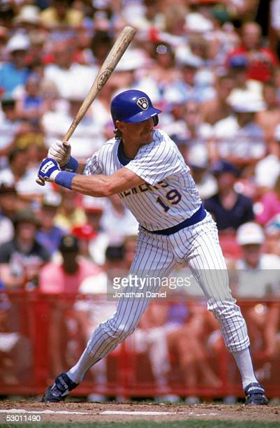 Robin Yount of the Milwaukee Brewers bats during a game in the 1989 season at County Stadium in Milwaukee Wisconsin