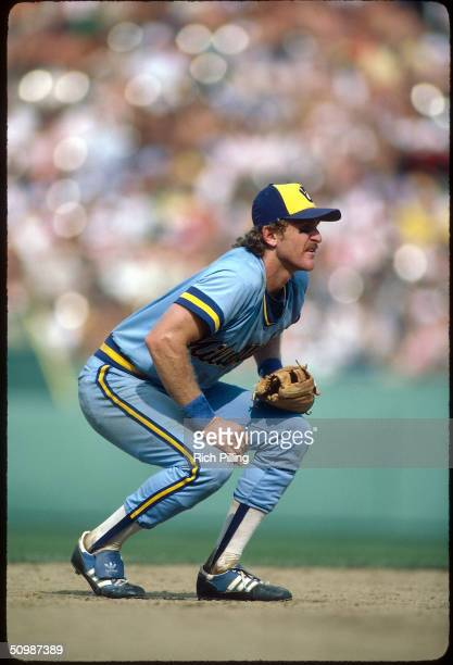Robin Yount of the Milwaukee Brewers focuses on home plate as he prepares for a play during a game circa 1983.