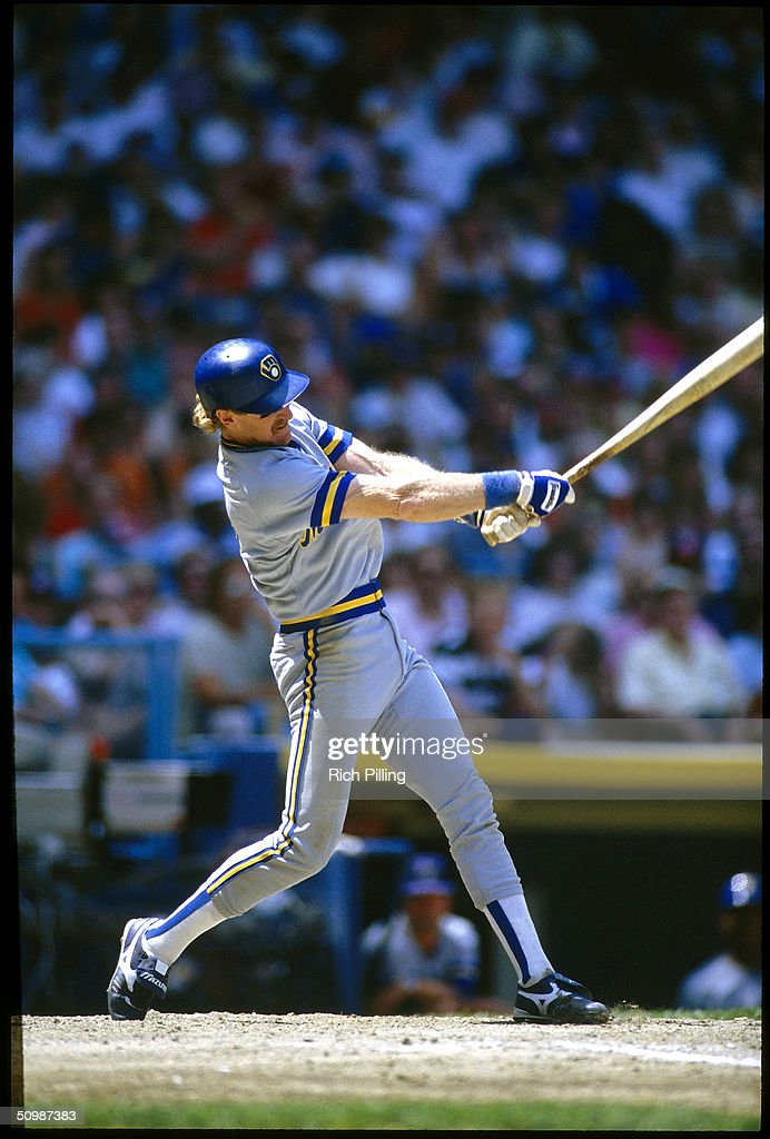 Robin Yount of the Milwaukee Brewers swings at a pitch during a game circa 1988. Robin Yount played for the Milwaukee Brewers from 1974 -1993.