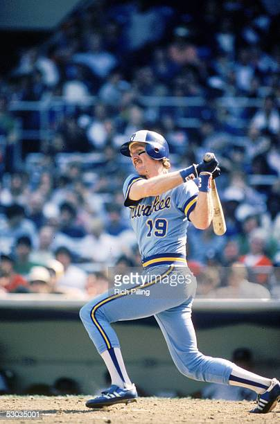 Robin Yount of the Milwaukee Brewers watches the flight of the ball as he follows through on a swing during a DATE season game at VENUE in CITY STATE...