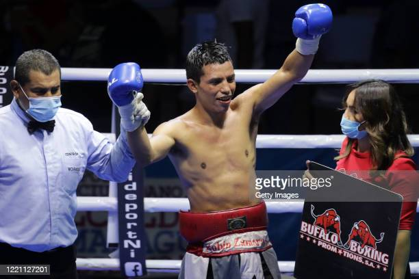 Robin Zamora celebrates after defeating Ramiro Blanco in the lightweight category in the main fight of the night at Alexis Arguello Sports Center on...