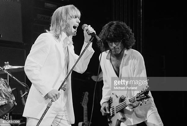Robin Zander and Tom Petersson of American rock group Cheap Trick performing on stage USA 1978