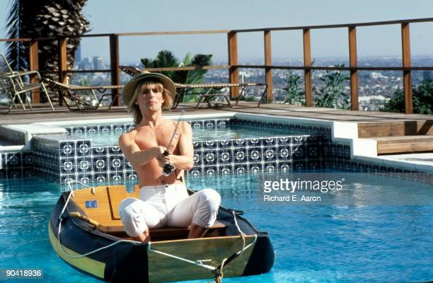 Robin Zander from Cheap Trick filming a video to the song 'Up The Creek' in Los Angeles in 1984
