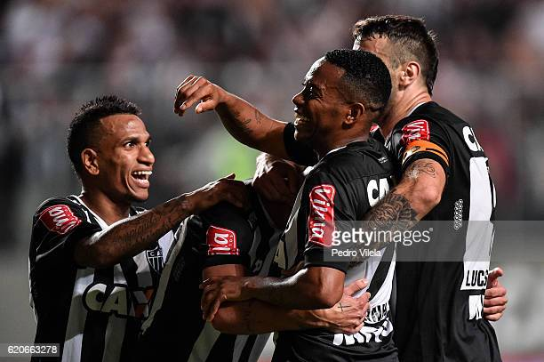 Robinho and Otero of Atletico MG celebrates a scored goal against Internacional during a match between Atletico MG and Internacional as part of Copa...
