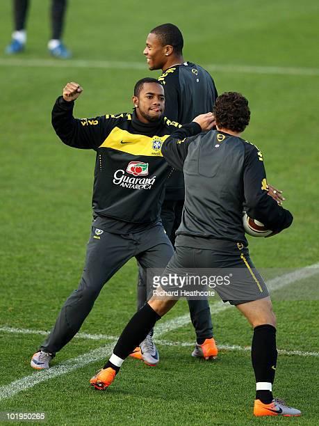 Robinho chases Elano during the Brazil team training session at Randburg School on June 10 2010 in Johannesburg South Africa The Brazil national team...