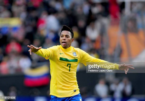 Robinho from Brazil in action during the ball during a matchg between Brazil and Venezuela at Ciudad de La Plata Stadium as part of the group B of...