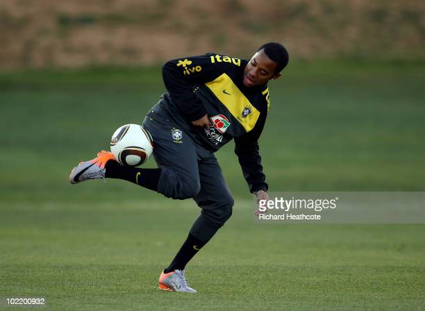 Robinho in action during the Brazil team training session at St Stithians College on June 18 2010 in Johannesburg South Africa The Brazil national...