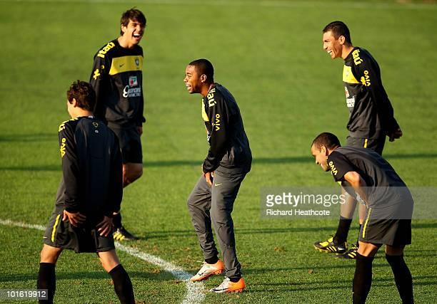 Robinho jokes with Kaka Lucio and Daniel Alves action during the Brazil training session at Randburg High School on June 4 2010 in Johannesburg South...