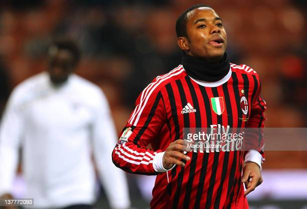 Robinho of AC Milan celebrates his 11 equalising goal during the Tim Cup match between AC Milan and SS Lazio at Giuseppe Meazza Stadium on January 26...