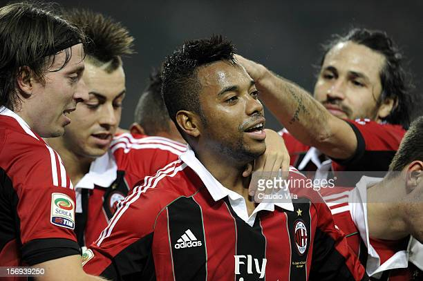 Robinho of AC Milan celebrates scoring the first goal during the Serie A match between AC Milan and Juventus FC at San Siro Stadium on November 25...