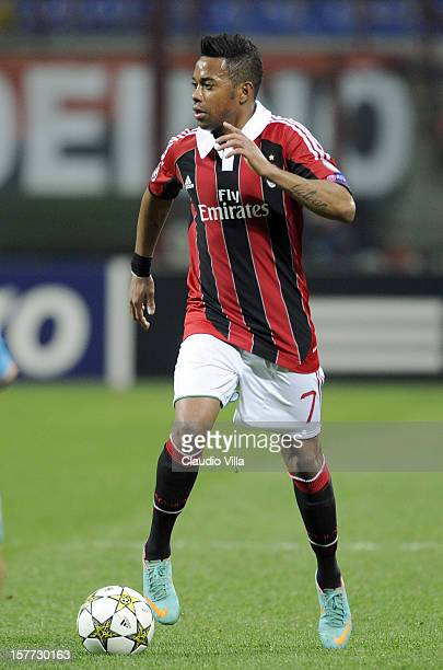 Robinho of AC Milan in action during the UEFA Champions League group C match between AC Milan and Zenit St Petersburg at San Siro Stadium on December...