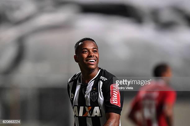 Robinho of Atletico MG celebrates a scored goal against Internacional during a match between Atletico MG and Internacional as part of Copa do Brasil...