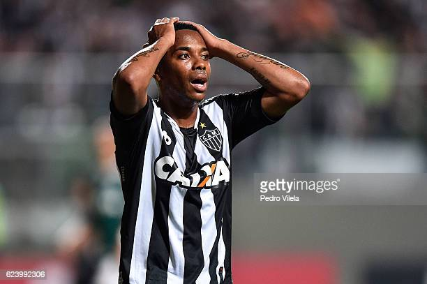 Robinho of Atletico MG reacts during a match between Atletico MG and Palmeiras as part of Brasileirao Series A 2016 at Independencia stadium on...