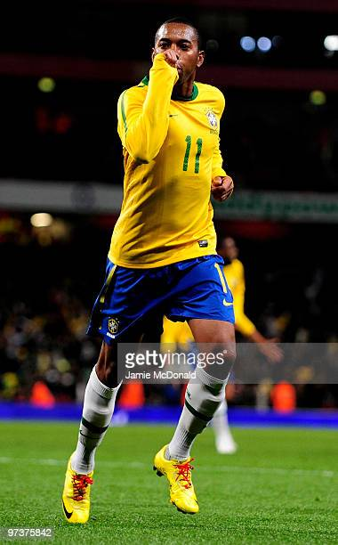 Robinho of Brasil celebrates his goal during the International Friendly match between Republic of Ireland and Brazil played at Emirates Stadium on...