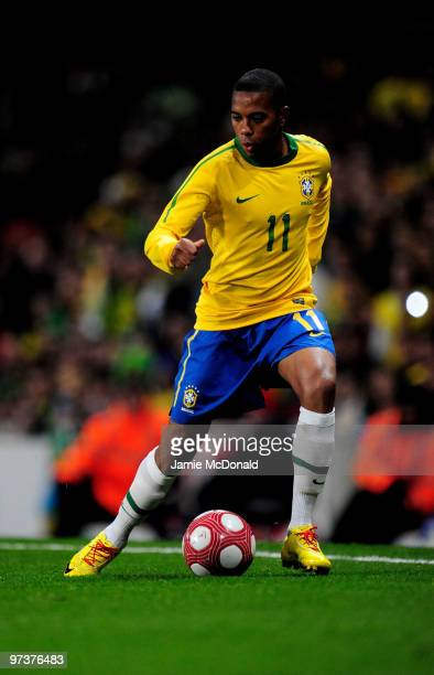Robinho of Brasil in action during the International Friendly match between Republic of Ireland and Brazil played at Emirates Stadium on March 2 2010...