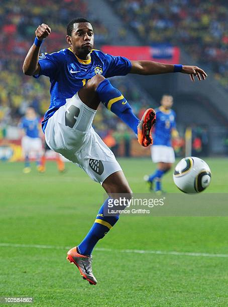 Robinho of Brazil attempts to control the ball during the 2010 FIFA World Cup South Africa Quarter Final match between Netherlands and Brazil at...