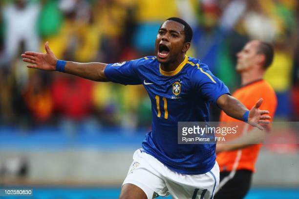 Robinho of Brazil celebrates scoring the opening goal during the 2010 FIFA World Cup South Africa Quarter Final match between Netherlands and Brazil...
