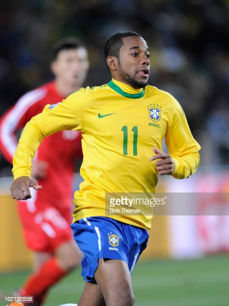 Robinho of Brazil competes in the 2010 FIFA World Cup South Africa Group G match between Brazil and North Korea at Ellis Park Stadium on June 15,...