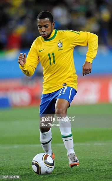 Robinho of Brazil controls the ball during the 2010 FIFA World Cup South Africa Group G match between Brazil and North Korea at Ellis Park Stadium on...