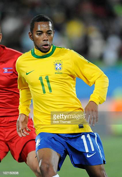 Robinho of Brazil during the 2010 FIFA World Cup South Africa Group G match between Brazil and North Korea at Ellis Park Stadium on June 15, 2010 in...