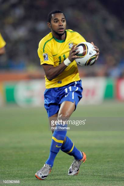 Robinho of Brazil during the 2010 FIFA World Cup South Africa Group G match between Brazil and Ivory Coast at Soccer City Stadium on June 20 2010 in...