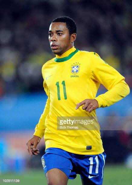 Robinho of Brazil during the 2010 FIFA World Cup South Africa Round of Sixteen match between Brazil and Chile at Ellis Park Stadium on June 28 2010...