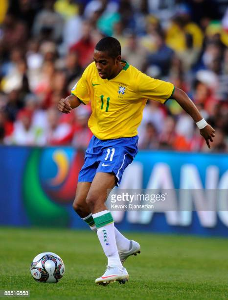 Robinho of Brazil during the match against Egypt during the FIFA Confederations Cup match between Brazil and Egypt at Free State stadium on June 15,...